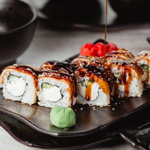 sushi set with cream and sauce
